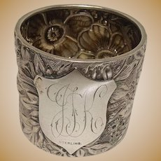 Gorgeous Floral and Leaf Repousse Sterling Napkin Ring