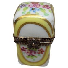 Limoges Hand Painted Porcelain Perfume or Pill Box