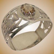 Antique Thistle Leaf and Citrine Napkin Ring 1901