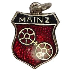 Vintage Mainz Germany Sterling and Enameled Travel Charm