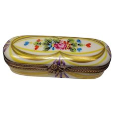 Limoges France Hand Painted Needle Case or Pill Box