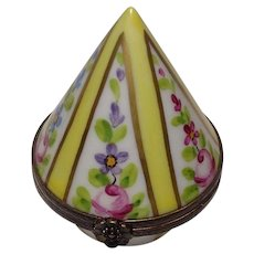 Limoges Hand Painted Floral Conical Porcelain Pill Box