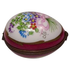 Limoges France Hand Painted Floral Egg Shape Pill Box