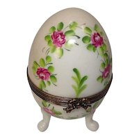 Limoges France Floral and Leaf Hand Painted Footed Egg Pill or Trinket Box