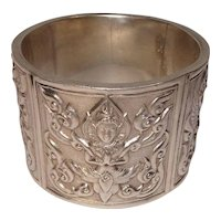 Siam Sterling Paneled Figures Napkin Ring