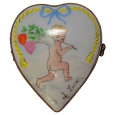 "Limoges France Hand Painted ""Bearer of Love"" Cupid Heart Shaped Porcelain Pill or Trinket Box"