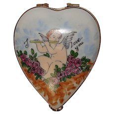 "Limoges France Cherub ""I Love You"" Floral Heart Shaped Hand Painted Pill Box"