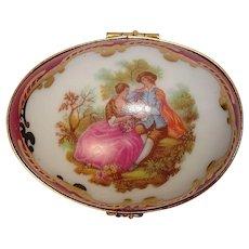 Limoges France Ornate Scenic Egg Shaped Pill or Trinket Box