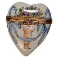 Limoges Gerard Ribierre Floral and Ribbon Heart Shaped Hand Painted Porcelain Pill Box