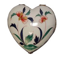 Limoges Chamart Hand Painted Floral Heart Shaped Trinket Box