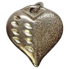 Vintage Sterling Textured Heart Charm