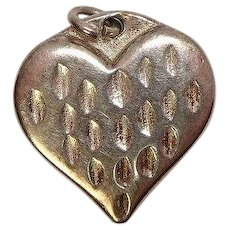 Sterling Textured Heart Charm
