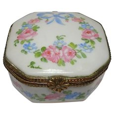 Porcelain Hand Painted Floral Leaf and Ribbon Trinket or Pill Box