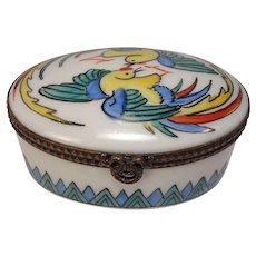 Limoges Hand Painted Birds Porcelain Pill Box