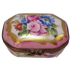 Rochard Limoges France Rose and Floral Porcelain Pill Box