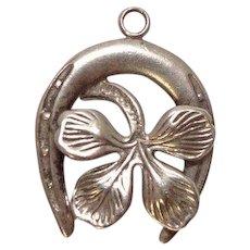 Lucky Horseshoe Four Leaf Clover Charm