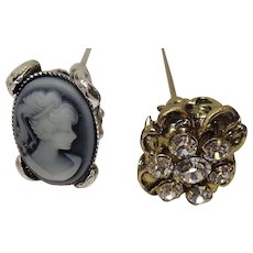 Mixed Metal Cameo Crystal Hat Pins 8 1/2""