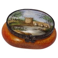 Limoges Hand Painted Scenic Pill Box