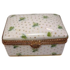 Limoges  Hand Painted Shamrock Leaf Porcelain Pill Box