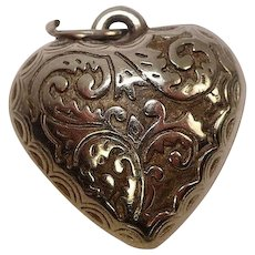 Vintage Ornate Mixed Metal Puffy Heart Charm