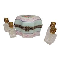 Limoges Hand Painted Floral Perfume Porcelain Box