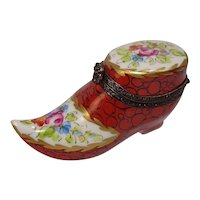 Limoges Shoe Form Hand Painted Floral and Leaf Porcelain Pill Box
