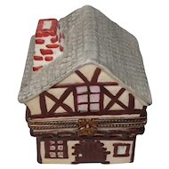 Limoges Swiss Chalet House Hand Painted Porcelain Trinket Box