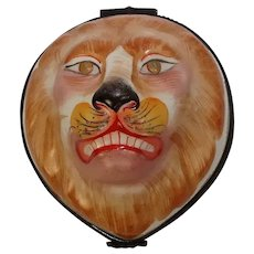 Hand Painted Lion Limoges Style Porcelain Pill Box
