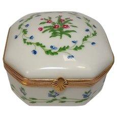Reynaud Limoges Floral and Leaf Porcelain Trinket Box