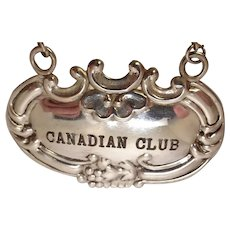 Sterling Canadian Club Decanter Label or Tag