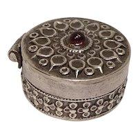 Ornate Red Gemstone Sterling Pill Box