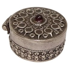 Ornate Red Gemstone Sterling Pill Box