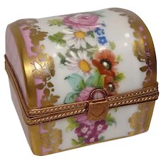 Gorgeous Limoges Floral and Leaf Chest Porcelain Pill Box
