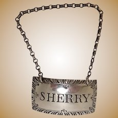 Stieff Sterling Sherry Decanter Label or Tag