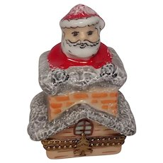 Limoges Santa Claus Going Down Chimney Hand Painted Porcelain Pill Box