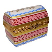 Limoges Chest Hand Painted Porcelain Pill Box
