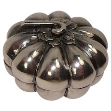 Sterling Pumpkin Shaped Pill Box