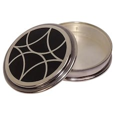 Christofle France Silver Plated and Enameled Geodesic Pill Box