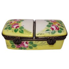 Limoges Floral Hand Painted Porcelain Stamp or Pill Box