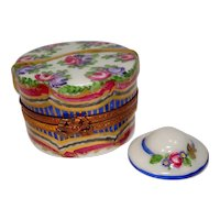 Limoges Ornate Floral Hat Box with Hat Porcelain Pill Box Hand Painted