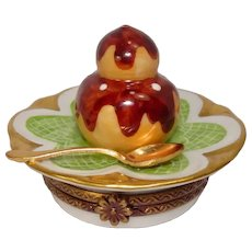 Limoges Cream Puff Pastry Hand Painted Porcelain Pill Box