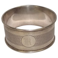 1928 England Engine Turned Sterling Napkin Ring monogrammed R