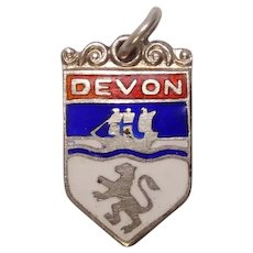 Vintage English Sterling Devon  Shield travel Charm