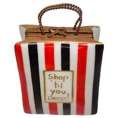 Limoges Shop Til You Drop Large Shopping Bag Porcelain Pill Box