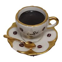 Limoges Rochard Hand Painted Coffee Cup and Saucer Porcelain Pill Box