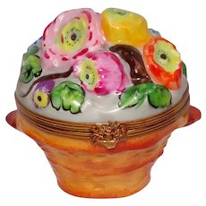 Limoges Chamart Hand Painted Basket of Flowers Trinket Box