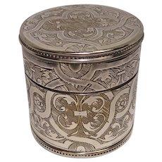 Very Ornate Silver Plate Pill Box Museum of Modern Art