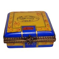 Limoges Chanille Hand Painted Cigar Box with Cigars Porcelain Pill Box