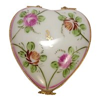 Limoges Floral Heart Porcelain Pill Box