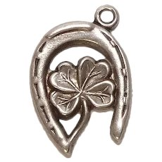 Vintage Good Luck Horseshoe and Four Leaf Clover Sterling Charm